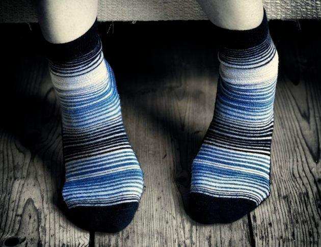 My friend's feet, in her wonderful socks