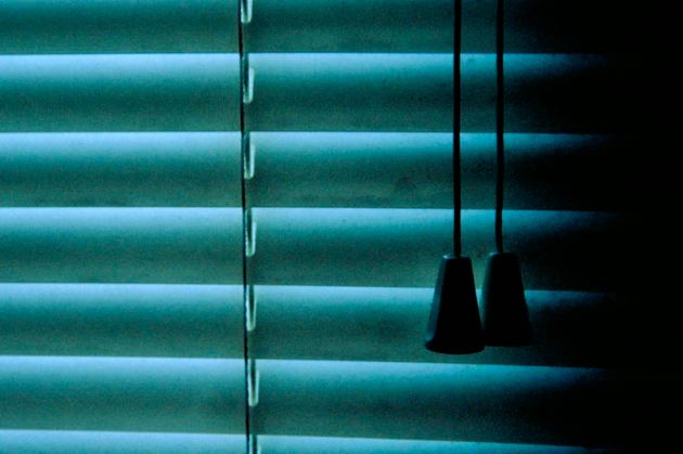 The blinds are closed