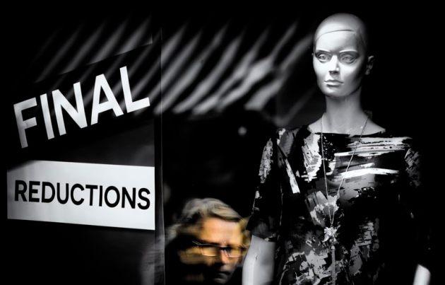 Reflection of a shopper