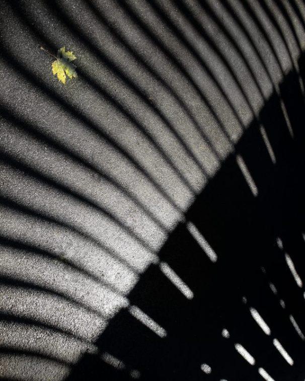 Shadow of a footbridge