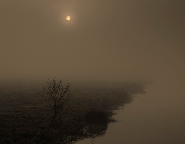 Rising sun with fog, Tealham Moor