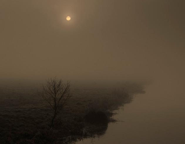 Rising sun with fog, Tealham Moor